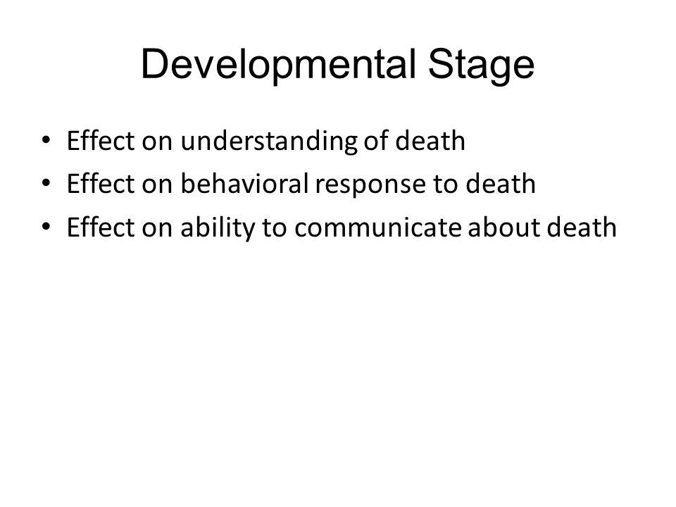 Developmental Stage Effect on understanding of death