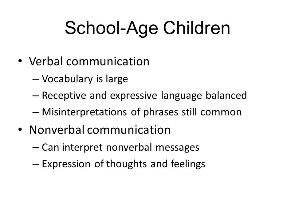 School-Age Children Verbal communication Nonverbal communication