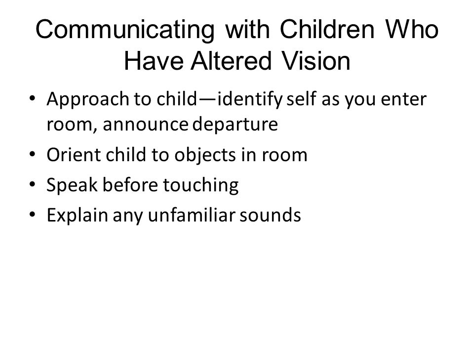 Communicating with Children Who Have Altered Vision