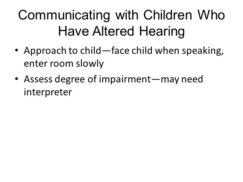 Communicating with Children Who Have Altered Hearing