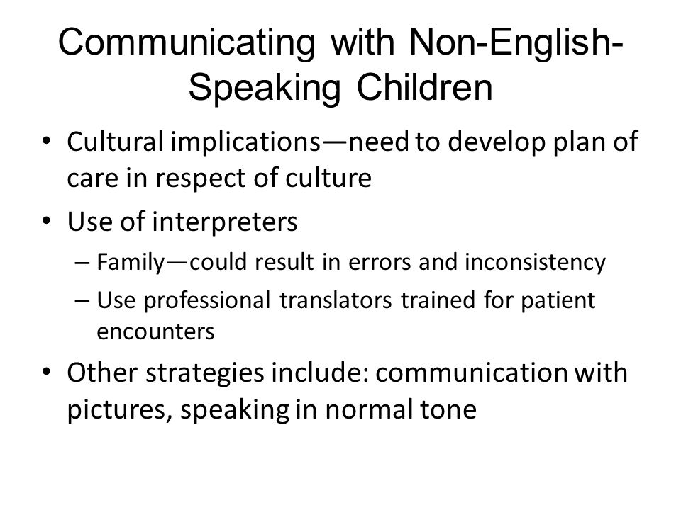 Communicating with Non-English-Speaking Children