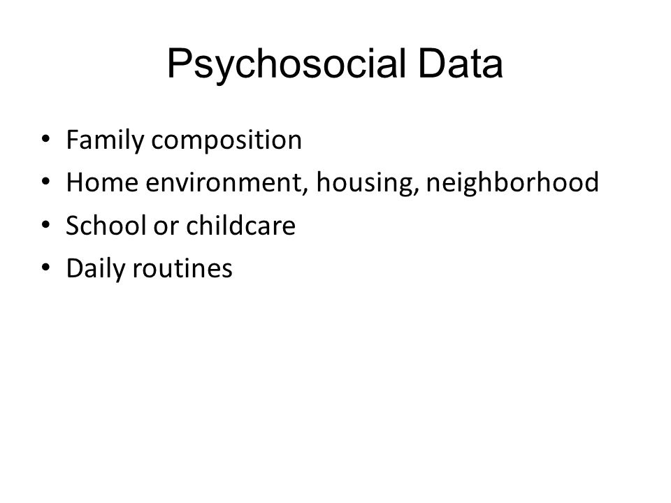 Psychosocial Data Family composition