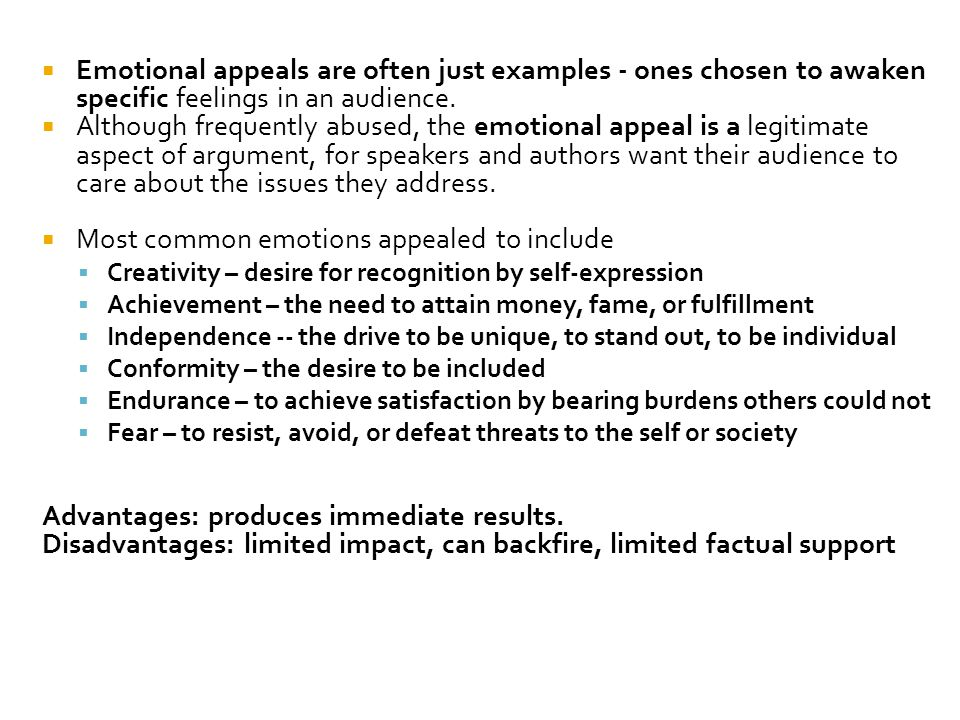 Most common emotions appealed to include