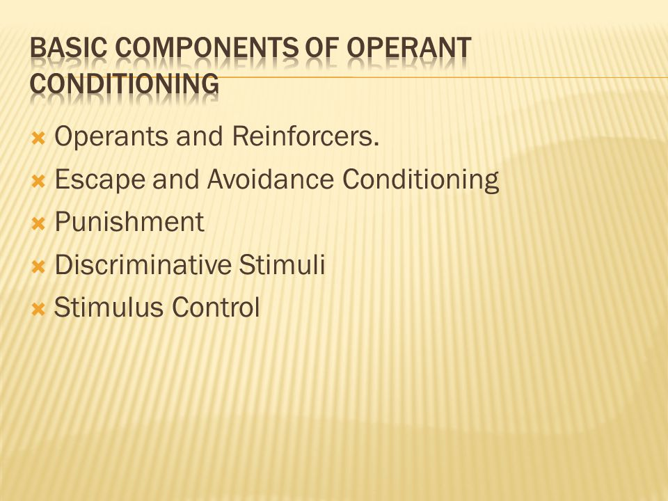 Basic components of Operant conditioning