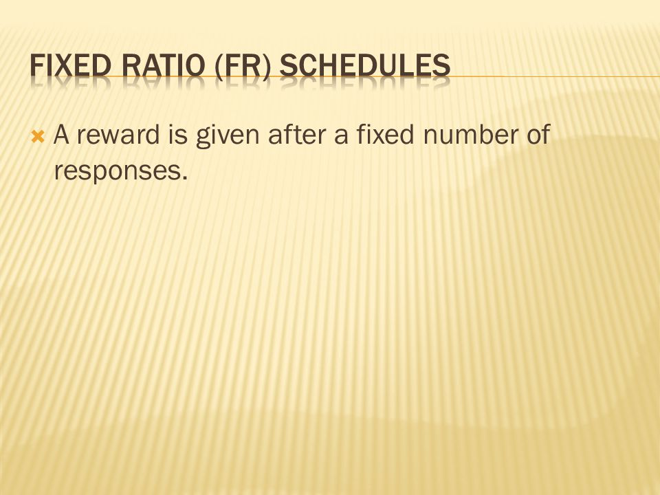 Fixed Ratio (FR) Schedules