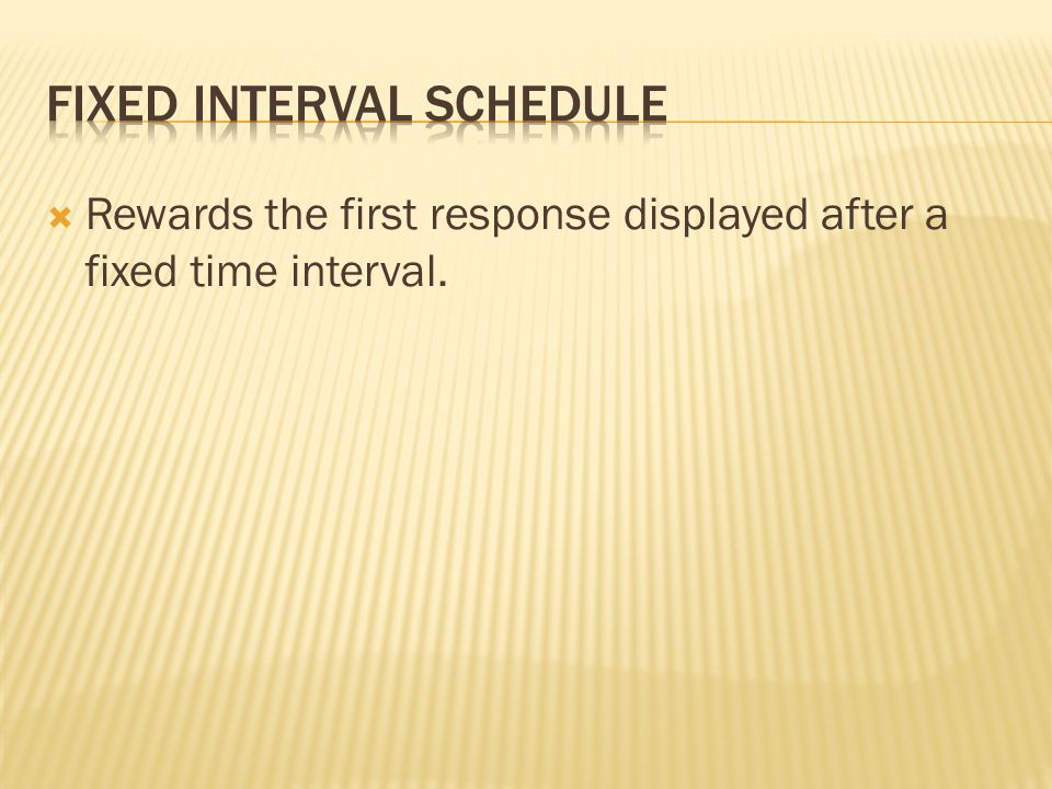 Fixed Interval Schedule