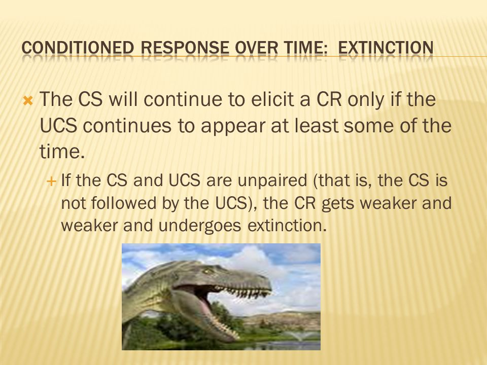 Conditioned response over time: extinction