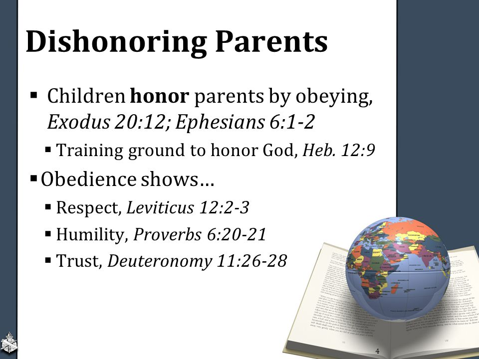 Dishonoring Parents Children honor parents by obeying, Exodus 20:12; Ephesians 6:1-2. Training ground to honor God, Heb. 12:9.