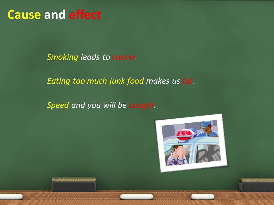 Cause and effect Smoking leads to cancer. Eating too much junk food makes us fat.