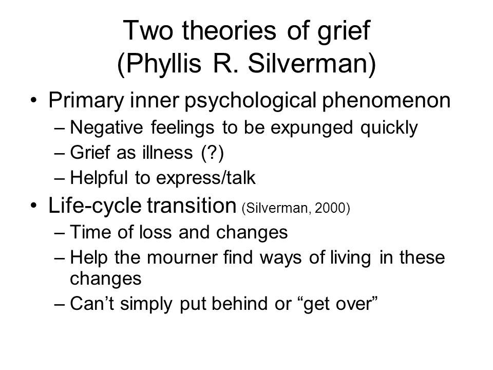 Two theories of grief (Phyllis R. Silverman)