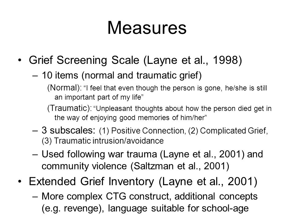 Measures Grief Screening Scale (Layne et al., 1998)