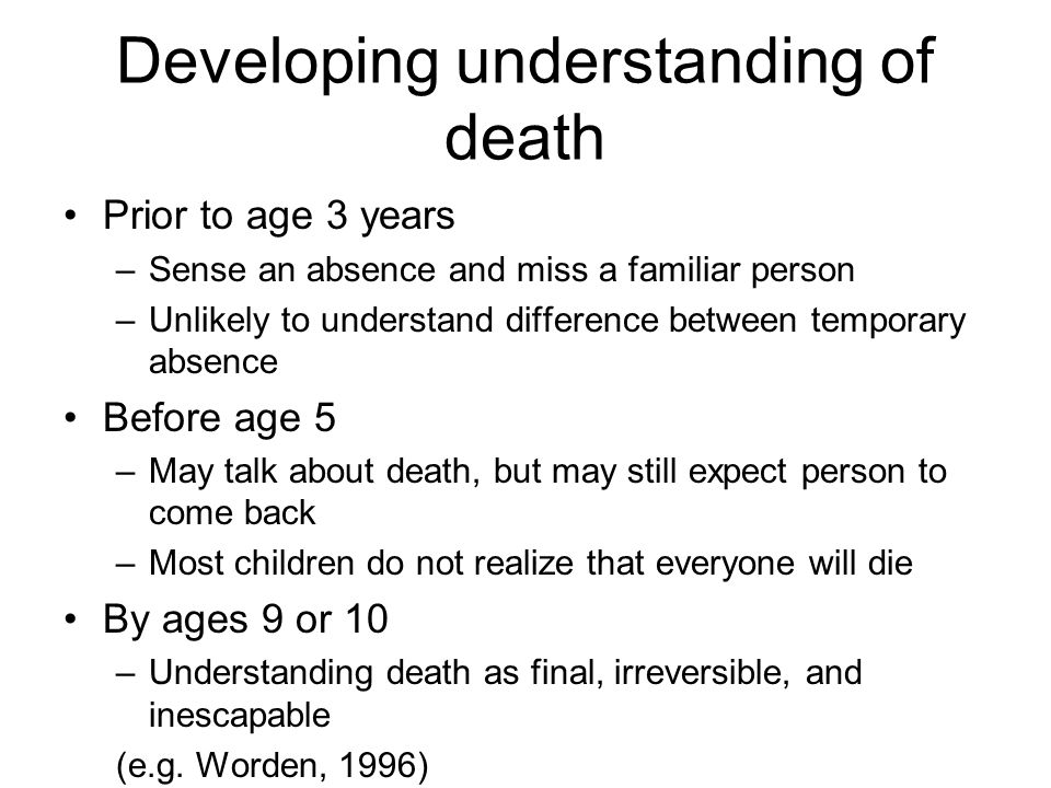 Developing understanding of death