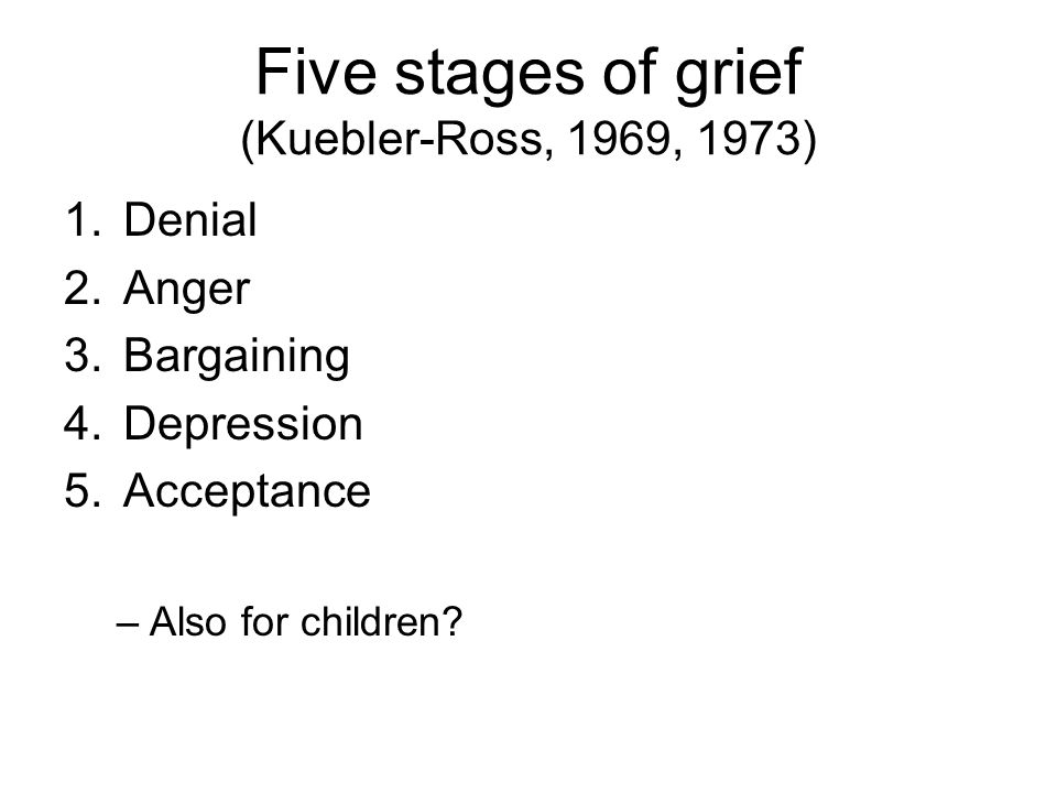 Five stages of grief (Kuebler-Ross, 1969, 1973)