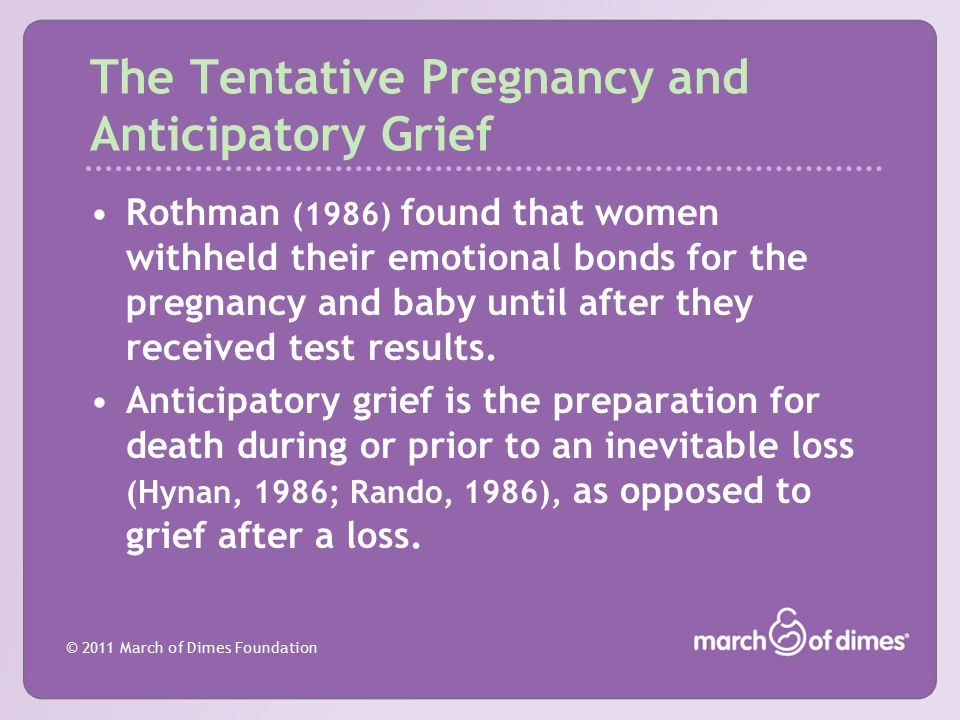 The Tentative Pregnancy and Anticipatory Grief