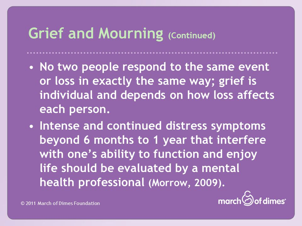 Grief and Mourning (Continued)
