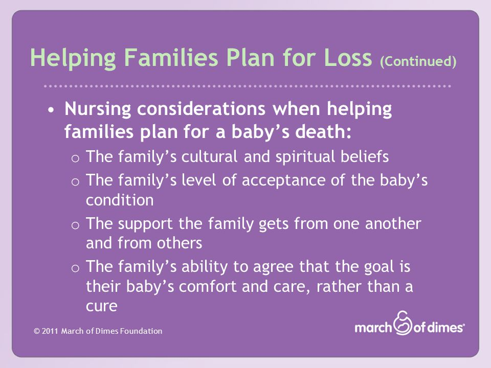 Helping Families Plan for Loss (Continued)