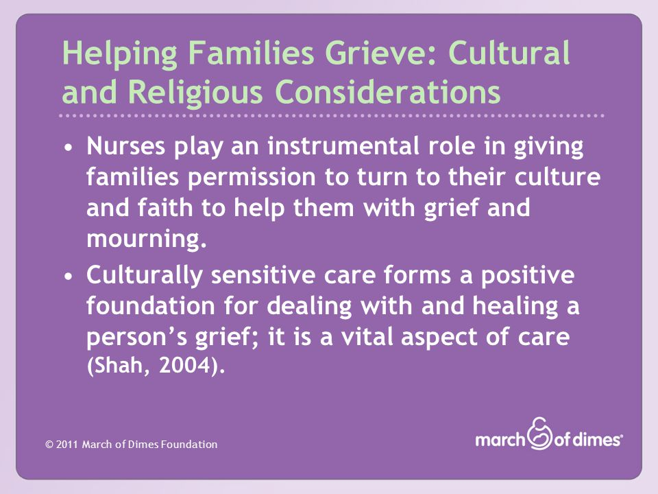 Helping Families Grieve: Cultural and Religious Considerations