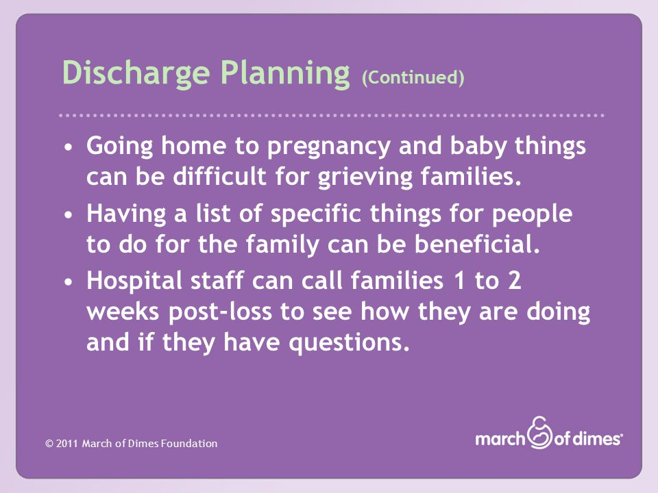 Discharge Planning (Continued)