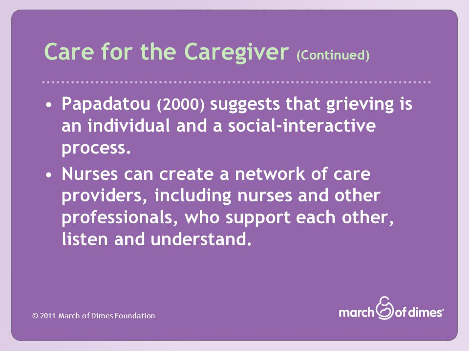 Care for the Caregiver (Continued)