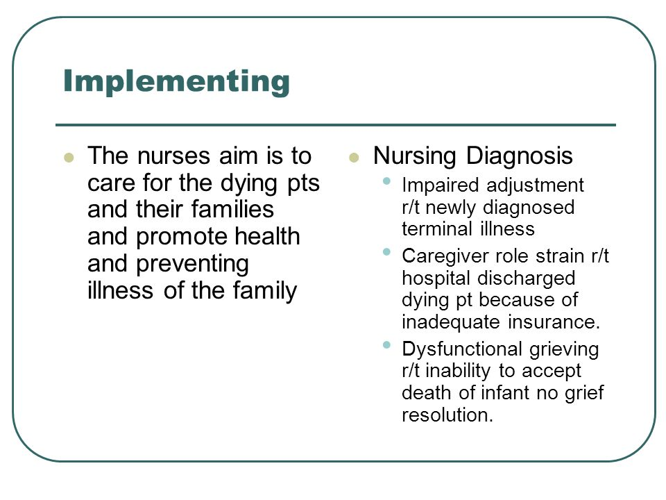 Implementing The nurses aim is to care for the dying pts and their families and promote health and preventing illness of the family.