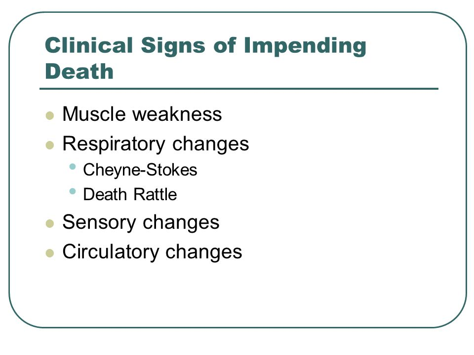 Clinical Signs of Impending Death
