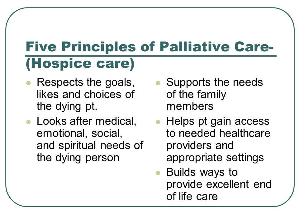 Five Principles of Palliative Care- (Hospice care)