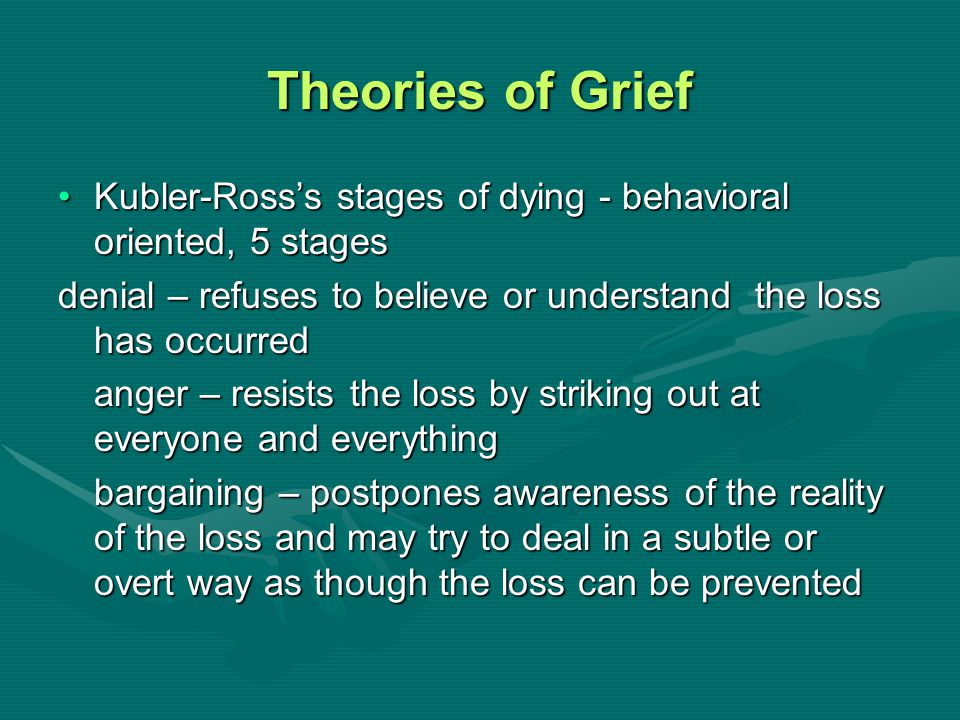 Theories of Grief Kubler-Ross's stages of dying - behavioral oriented, 5 stages. denial – refuses to believe or understand the loss has occurred.