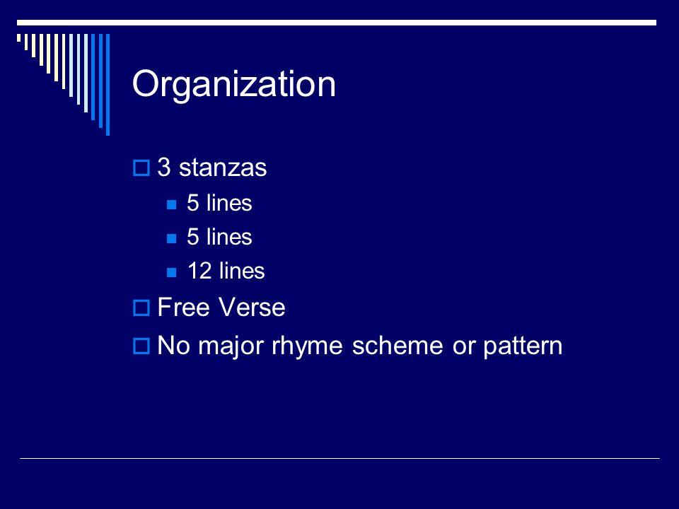 Organization 3 stanzas Free Verse No major rhyme scheme or pattern