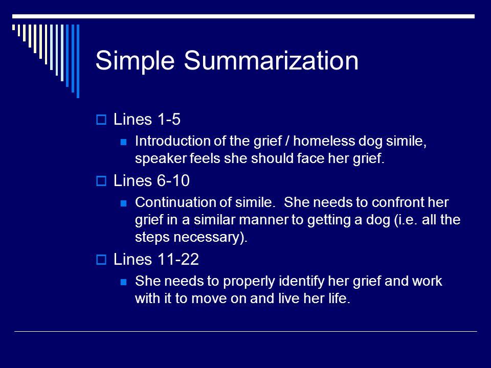 Simple Summarization Lines 1-5 Lines 6-10 Lines 11-22
