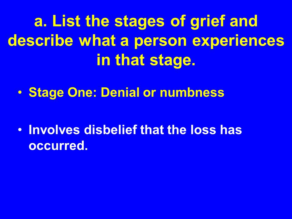 a. List the stages of grief and describe what a person experiences in that stage.
