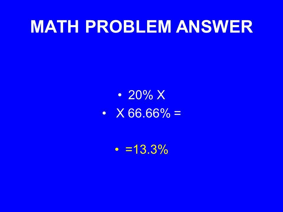 MATH PROBLEM ANSWER 20% X X 66.66% = =13.3%