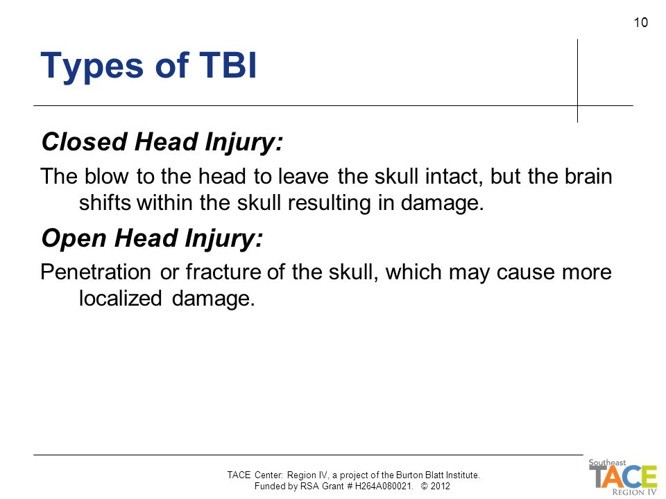 Types of TBI Closed Head Injury: Open Head Injury: