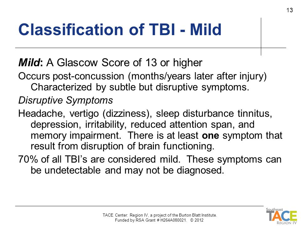 Classification of TBI - Mild