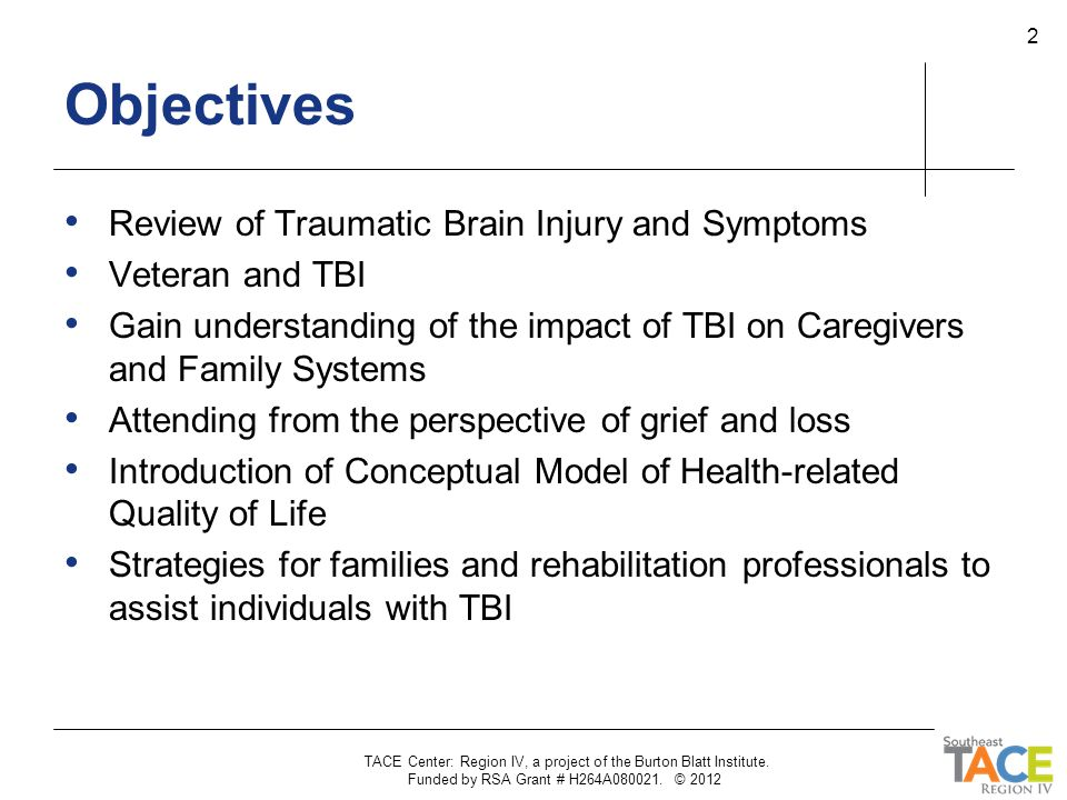 Objectives Review of Traumatic Brain Injury and Symptoms