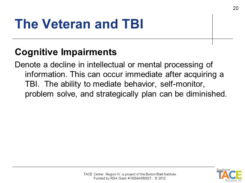 The Veteran and TBI Cognitive Impairments