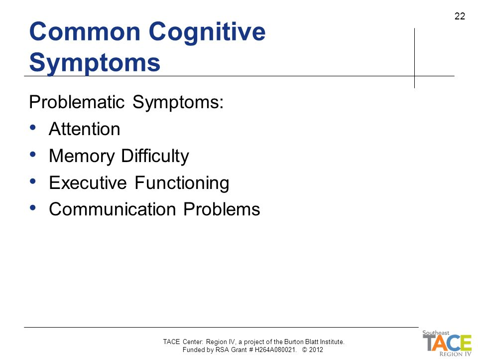 Common Cognitive Symptoms