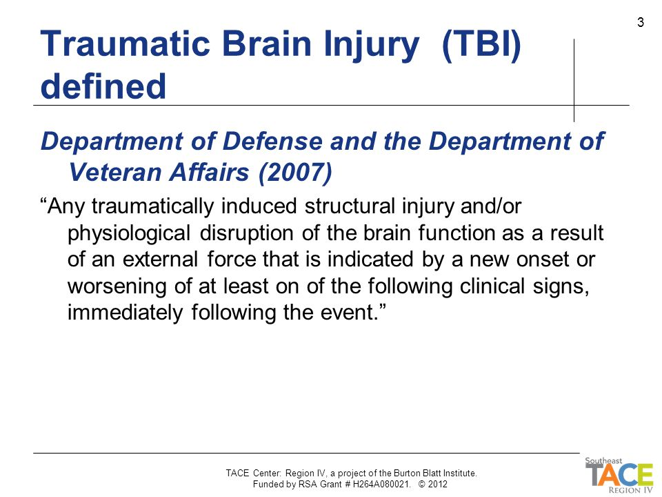 Traumatic Brain Injury (TBI) defined