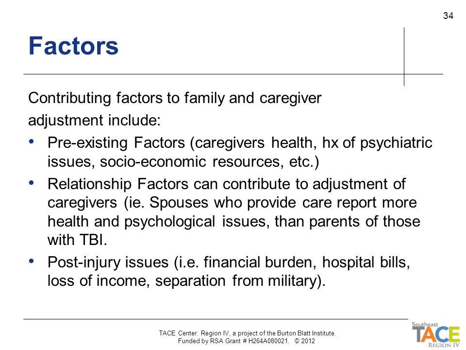 Factors Contributing factors to family and caregiver