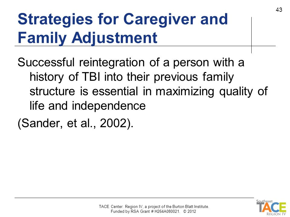 Strategies for Caregiver and Family Adjustment