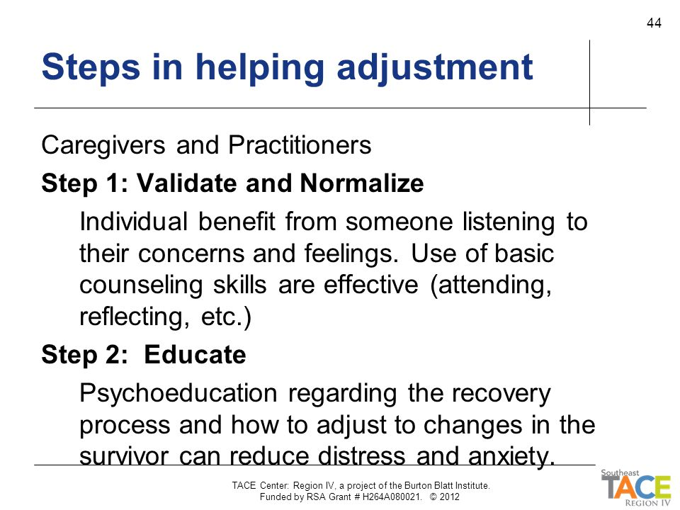 Steps in helping adjustment