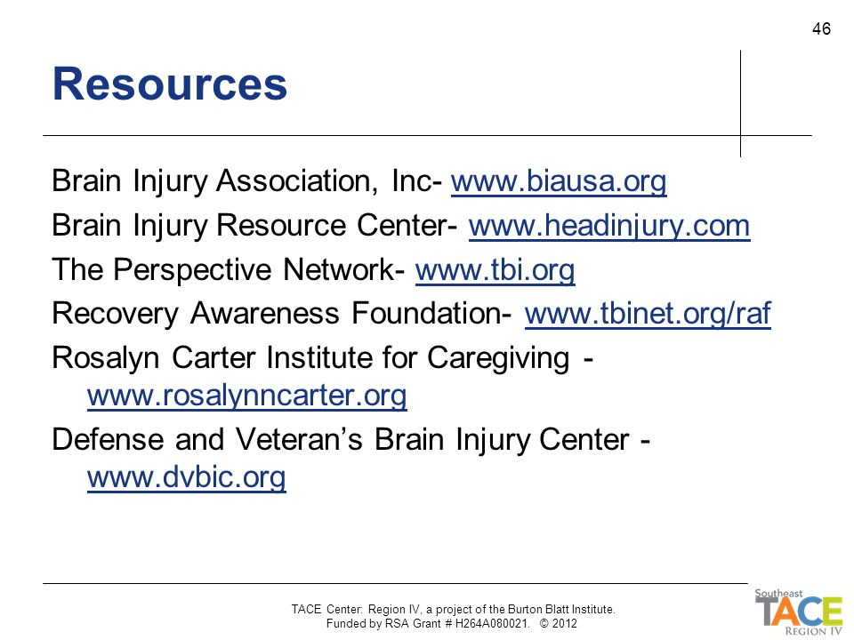 Resources Brain Injury Association, Inc- www.biausa.org
