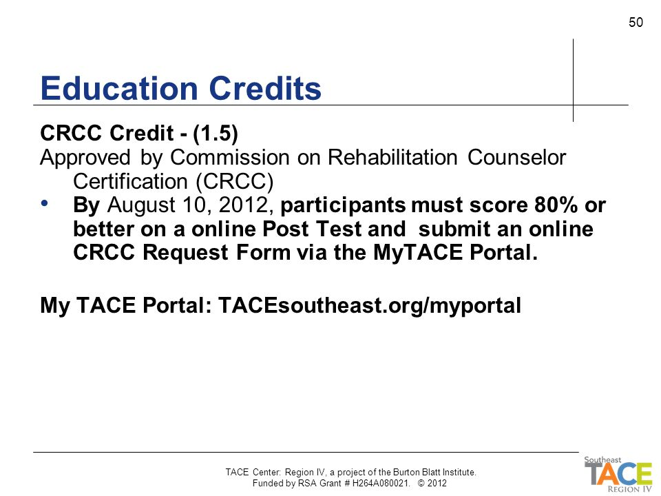 Education Credits CRCC Credit - (1.5)