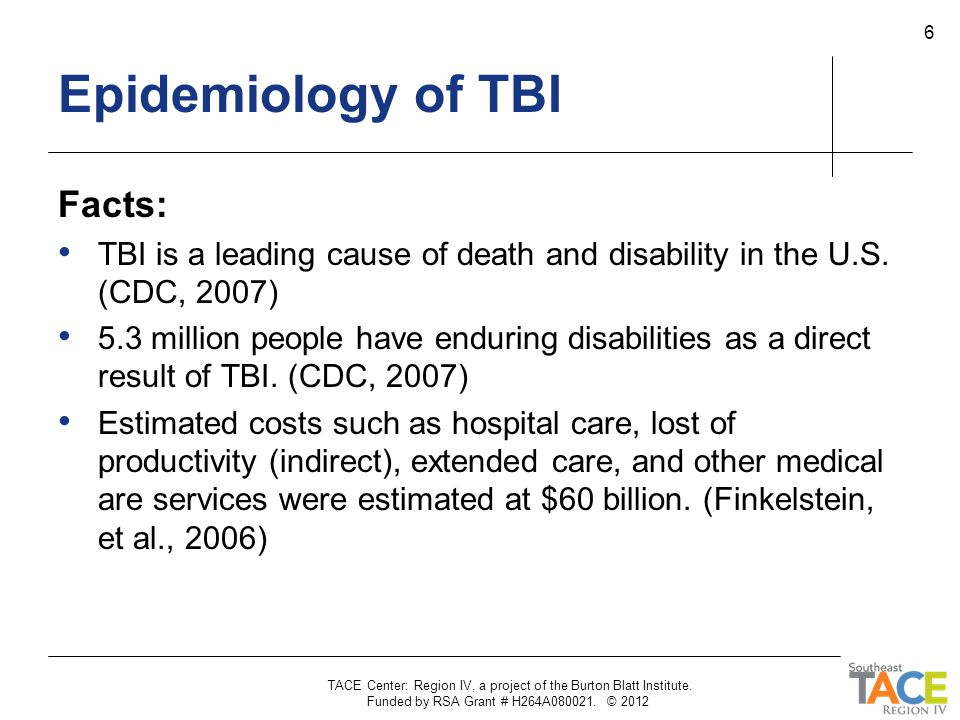 Epidemiology of TBI Facts:
