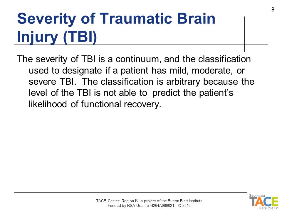 Severity of Traumatic Brain Injury (TBI)