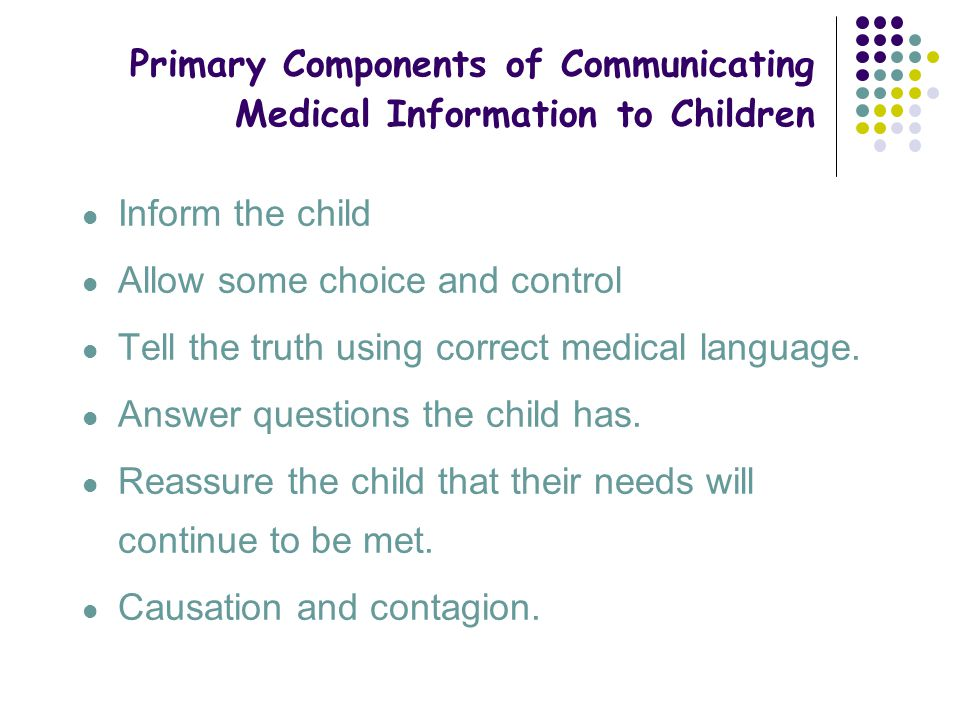 Primary Components of Communicating Medical Information to Children