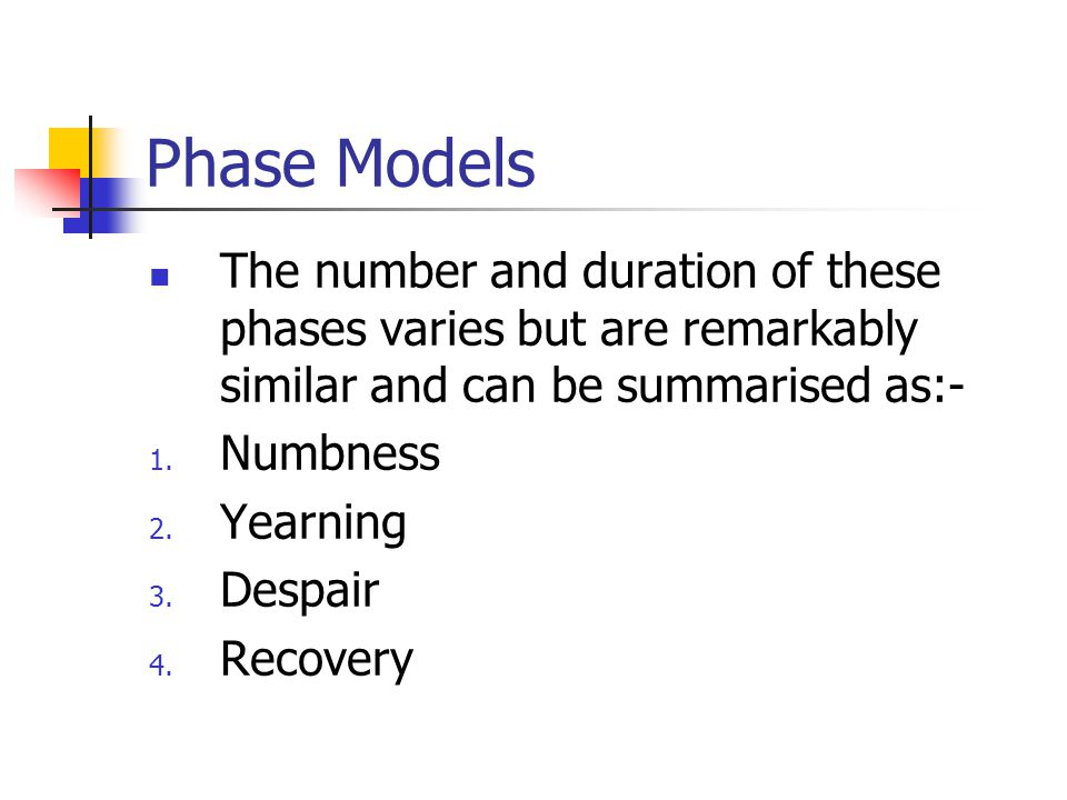 Phase Models The number and duration of these phases varies but are remarkably similar and can be summarised as:-