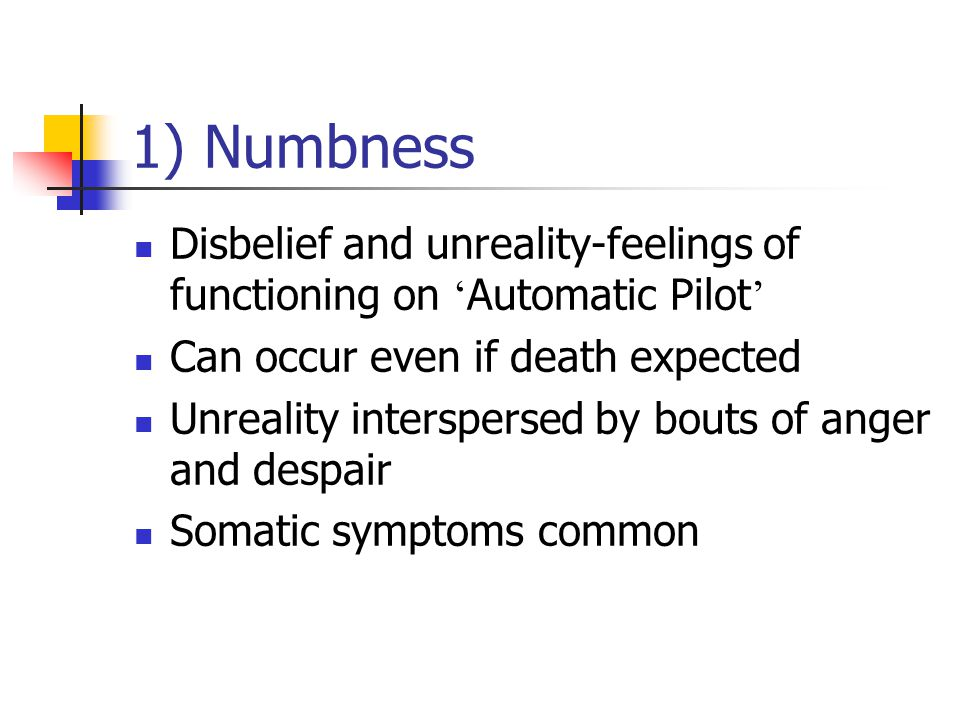 1) Numbness Disbelief and unreality-feelings of functioning on 'Automatic Pilot' Can occur even if death expected.