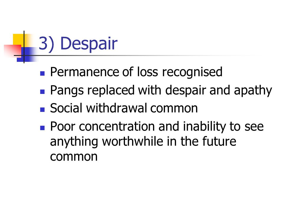 3) Despair Permanence of loss recognised