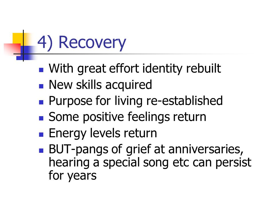 4) Recovery With great effort identity rebuilt New skills acquired