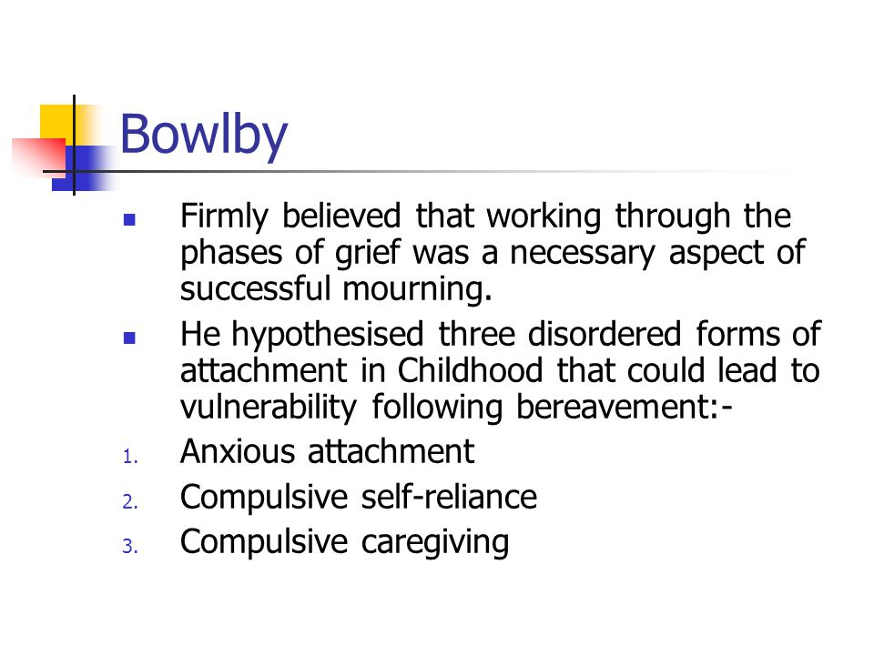 Bowlby Firmly believed that working through the phases of grief was a necessary aspect of successful mourning.